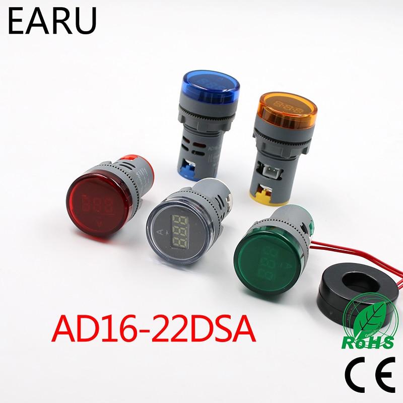 22 мм светодиодный цифровой Дисплей AC 60-500 В 0-100A Ampermeter Амперметр Вольтметр На ...