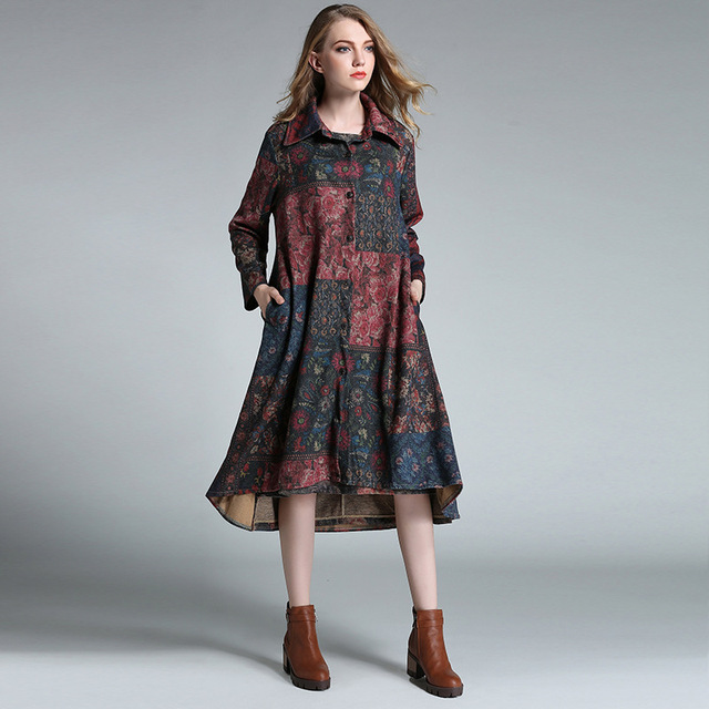 2016 Mujeres de La Moda otoño invierno estampado floral cuello de solapa de lana de foso de lana escudo blended cardigan outwear Abrigos Mujer XXXXL