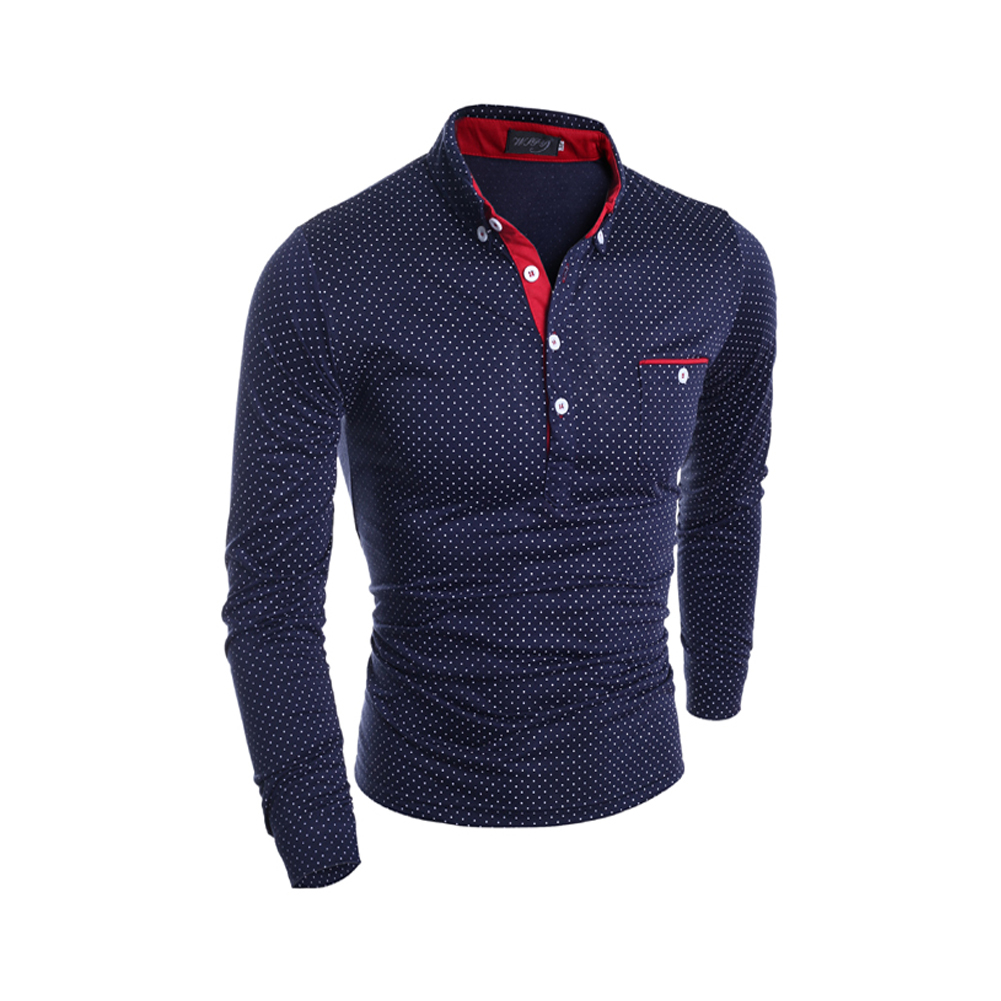 Hot Sell Mens   polo   shirt Fashion Brand Polka dot printing Lapel long sleeve   polo   unlined upper garment man Paul shirt LB