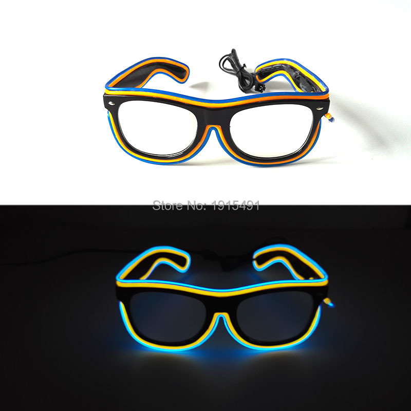 New Style Double Color Masquerades supplies EL wire Glowing Sunglasses Energy Saving LED Neon Eyewear for Easter Day,Halleween