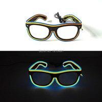 Yeni Stil Çift Renk Masquerade 'ın malzemeleri EL tel Parlayan Güneş Enerji Tasarrufu LED Neon Gözlük Paskalya Günü için, Halleween