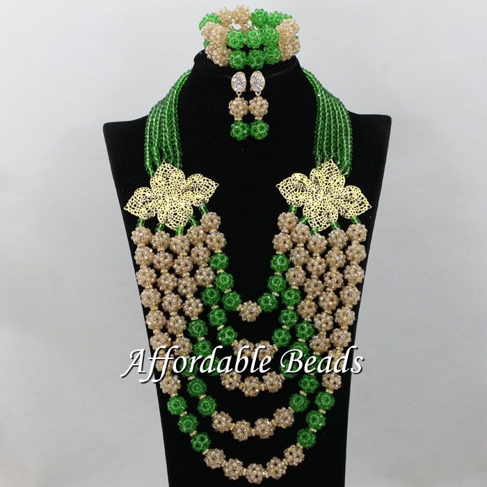 Gold&Green African Jewelry Bead Set Beautiful Nigerian Beads Jewelry New Design Item ABC084Gold&Green African Jewelry Bead Set Beautiful Nigerian Beads Jewelry New Design Item ABC084