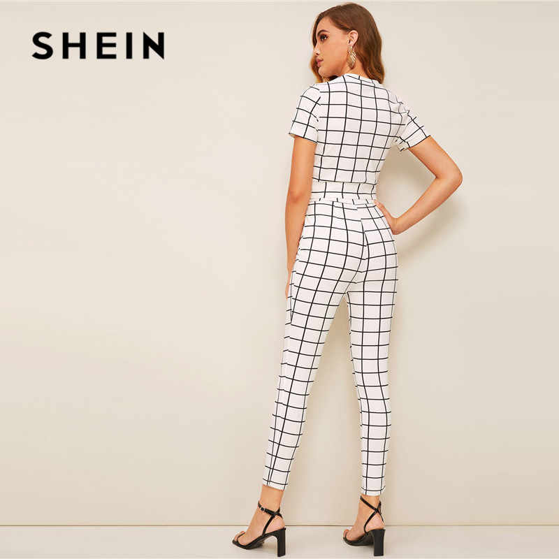 f49d7e1e43 ... SHEIN Twist Front Grid Crop Top And Skinny Pants Matching Set Women  Clothing Spring Elegant Short ...