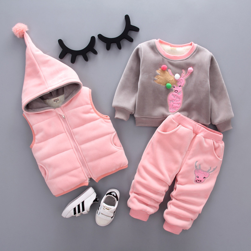 weiqinniya Girls Set Toddler Girls Clothing Sets Fashion Children Cartoon 3PCs Sets Plus Velvet Suit 2018 Kids Cotton Set Winter toddler special offer new arrival full little boys fashion cute cotton robot cartoon warm clothing sets children sports suit