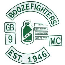 BOOZEFIGHTERS MC SGT AT ARMS Embroidered punk biker Patches Clothes Stickers Apparel Accessories Badge 10 PCS/SET