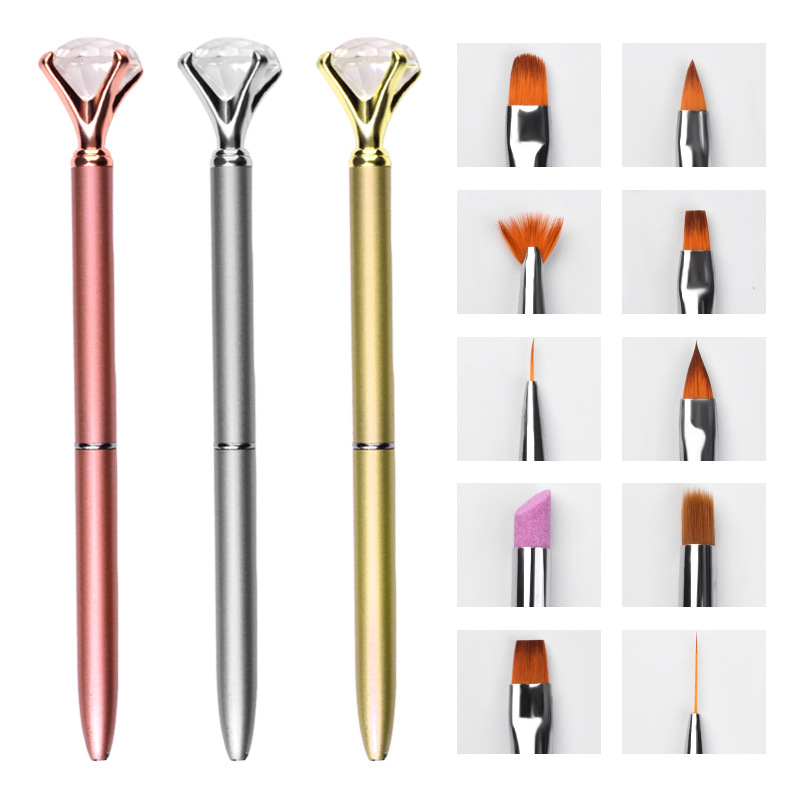 1+10Pcs/set Diamond Nail Art Brush Metal Handle Replaceable Brushes Pen Liner UV Gel Gradient Painting Cuticle Pusher Manicure