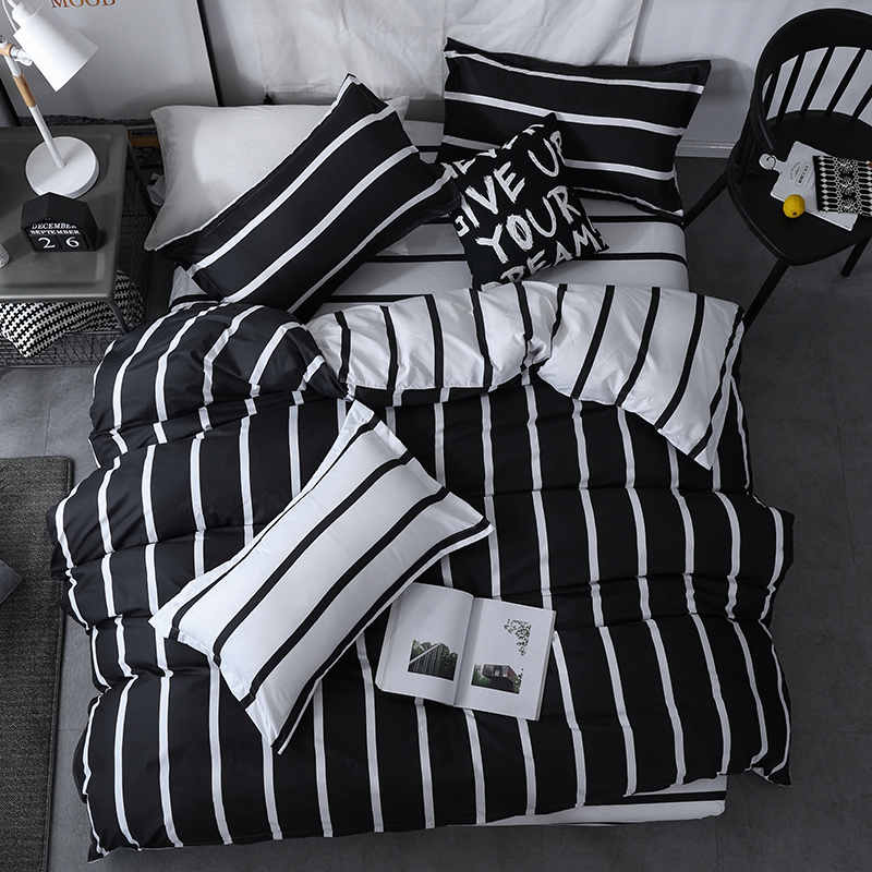Brown Black plaid bedding sets simple European Style Printed quilt cover Bed Linen pillow cases bed sheets duvet cover