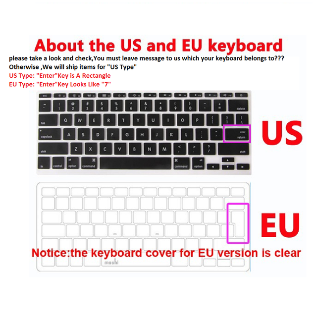 Crystal clear hard Cover Case+keyboard cover For Apple Macbook Air Pro  Retina Touch Bar & ID 11 11.6 13 13.3 15 15.4 16 case