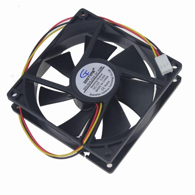 Gdstime 1 PCS 92mm x 25mm PC Case Fan 90mm DC 12V 3Pin PC Computer CPU Cooler Cooling Radiator 92x92x25mm gdstime 2 pcs 5cm dc 12v 0 15a 50mm x 15mm high speed centrifugal blower fan 5015 computer pc case cpu cooling cooler