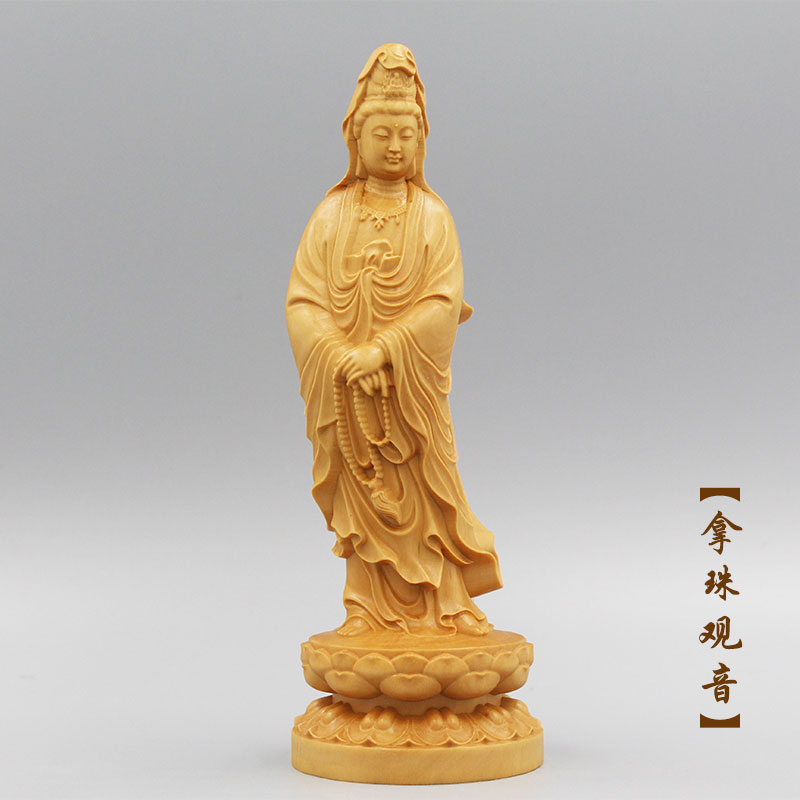 Buddhism sacred holy TOP efficacious Talisman Protection Lotus Guanyin Bodhisattva Buddha Sculpture Wood carving ART statue