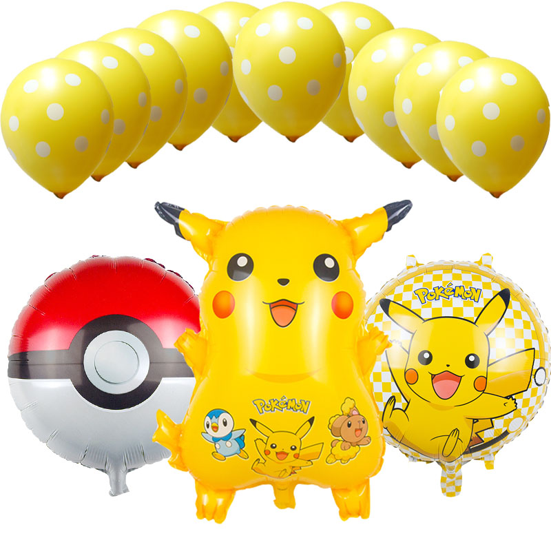 13pcs/lot cartoon Pikachu Foil Balloons Helium Ballons latex balloons Inflatable