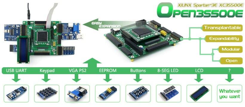 12 Modules Lcd 1602 Open 3s250e Package B # Xilinx Spartan Xc3s250e Spartan-3e Fpga Development Board Lcd 12864