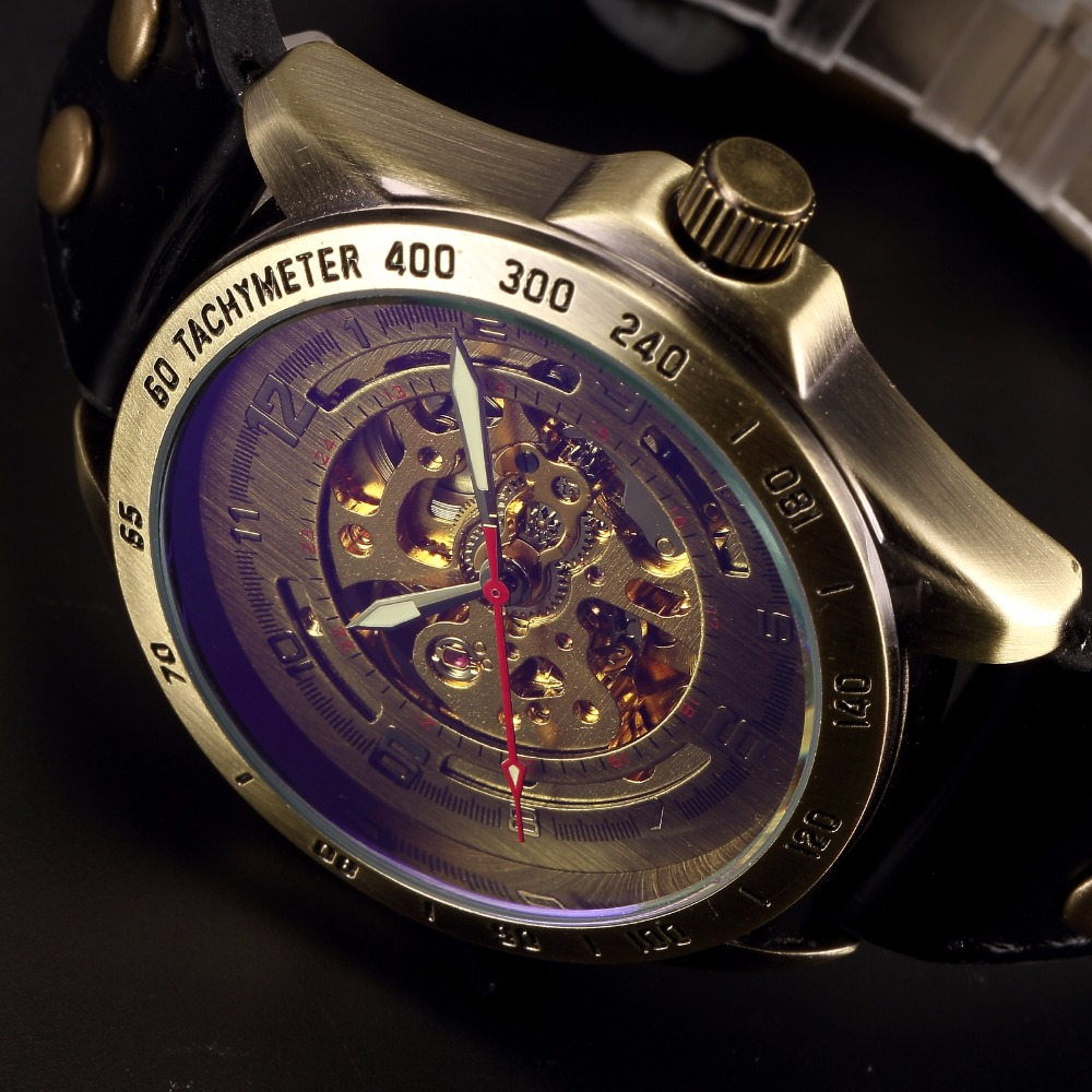 SHENHUA Skeleton Mechanical Watch Men Bronze Male Clock Casual Luxury Top Brand Brown Leather Retro Mens Automatic Watch Relgio shenhua luxury gold flywheel automatic mechanical skeleton watch men male waterproof clock hollow transparent watch wrist watch