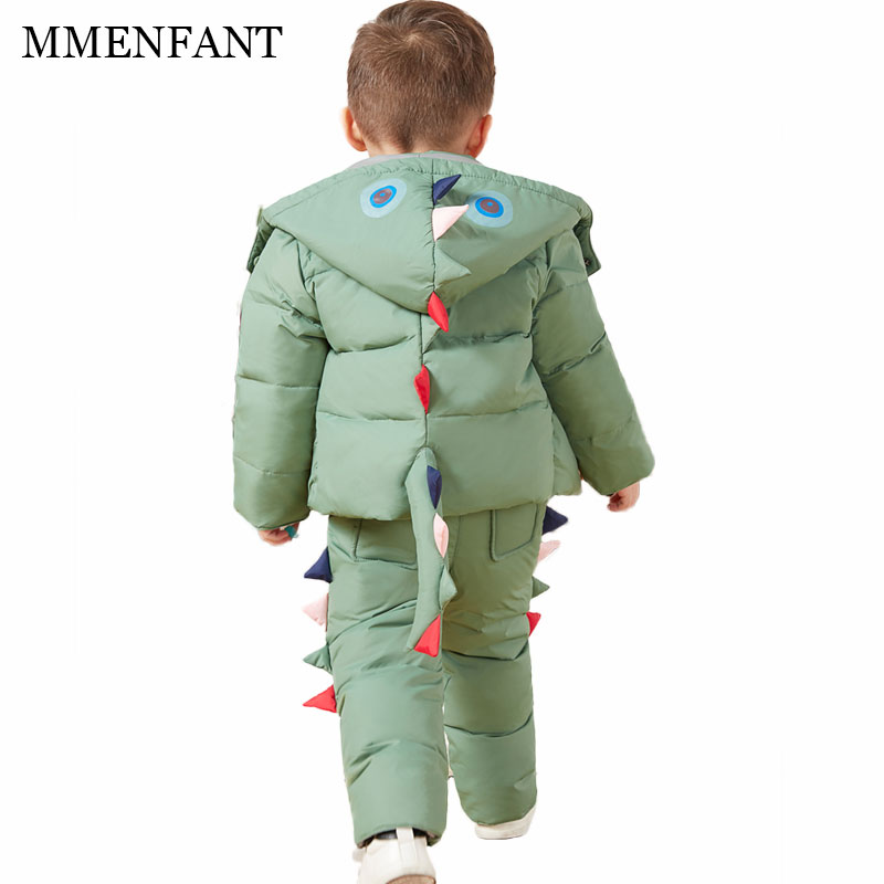 Children Clothing Set boys Cartoon dinosaurs Down Coat +Overalls Suits girls Warm Windproof Snowsuit Toddler kids Ski Suit 0-4Y mioigee 2017 girls ski suit winter children clothing for boys suits jacket coat overalls windproof snowsuit baby outwear sets