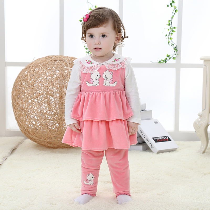 2015 Fall Of The New 1 2 Year Old Female Baby Clothing Comfortable Pin Three Sets Of Girls Go -1817
