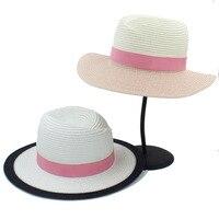 Women Men Spring Summer Fashion New Arrival Adjustable Wide Brim M Sew Pink Ribbon Beach Vacation