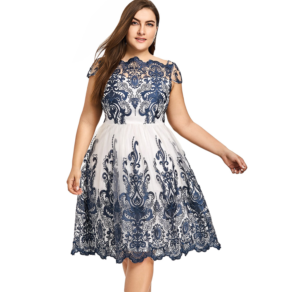 US $19.06 49% OFF Plus Size Boat Neck Party Dress Navy Color Embroidery  Floral Print Organza Ball Gown Rockabilly Swing Vintage Dress Robe-in  Dresses ...