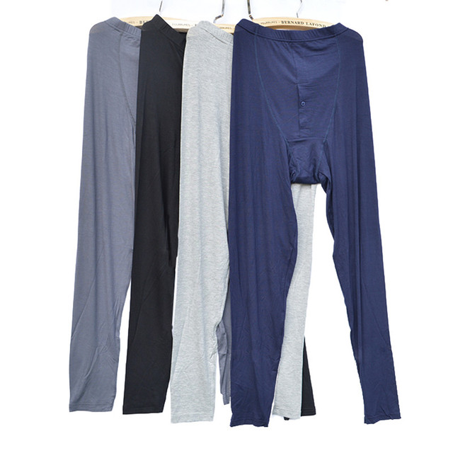 Men's Spring Summer thin modal  trousers Bamboo Solid Underwear Pants Long Johns