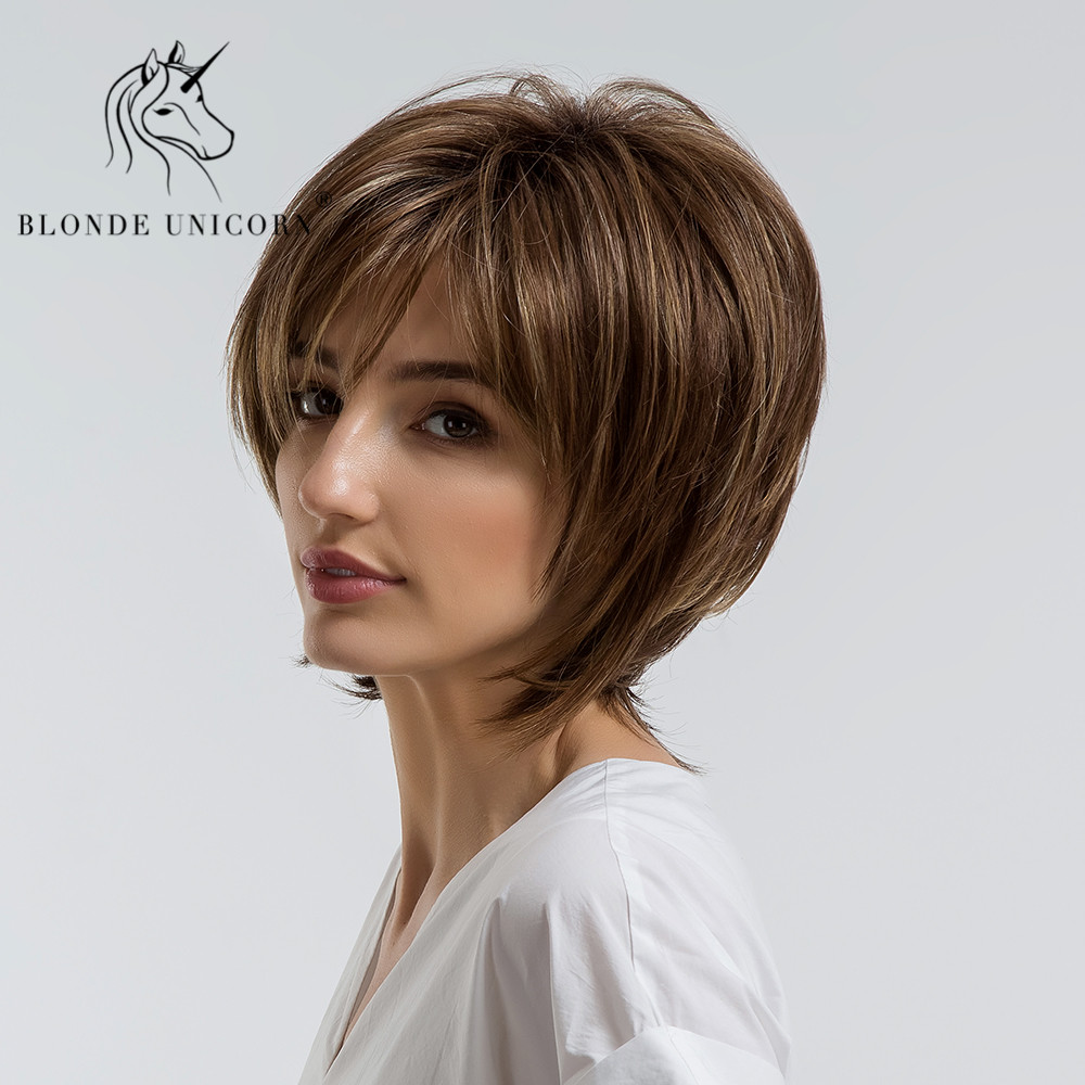 BLONDE UNICORN Fluffy Natural Bangs Wigs Highlight 10 Inch Brown Multi-layer Hair Wigs For Women Heat Resistant Synthetic Fiber