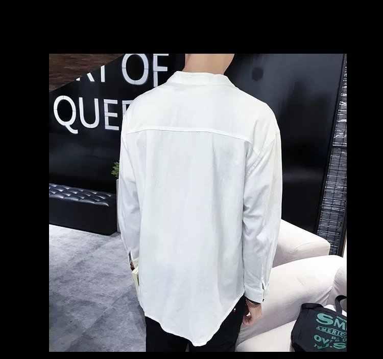 2018 ใหม่ผู้ชายผ้าลินินจีนแมนดารินผ้าลินินผ้าลินินเสื้อชายฤดูใบไม้ร่วงลำลองแขนยาวสีขาวสีดำผ้าลินินเสื้อ