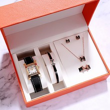 Fashion Square Women Watches Set Top Brand Luxury Casual Dre