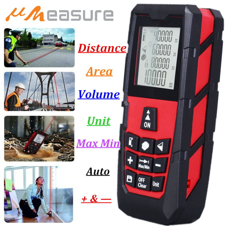 UMEASURE Red Color Laser Range Finder 0~100M /328ft Distance Area Volume Measurer Digital Laser Distance Meter 1 Year Warranty ms6450 ultrasonic range finder laser distance meter length area volume measurer