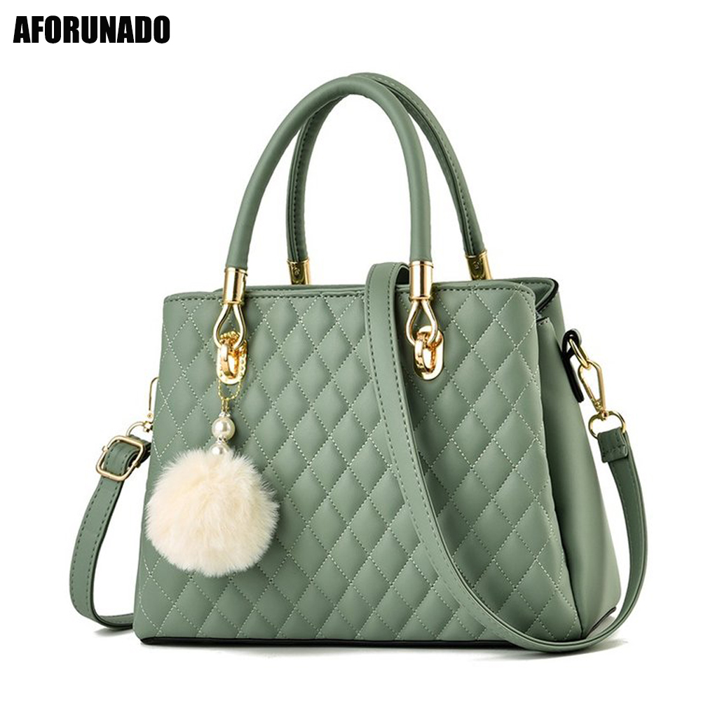New Luxury Handbags Women Bags Designer Tote Fashion Leather Plush Pendant Shoulder Bags Casual Crossbody Bags For Women 2019