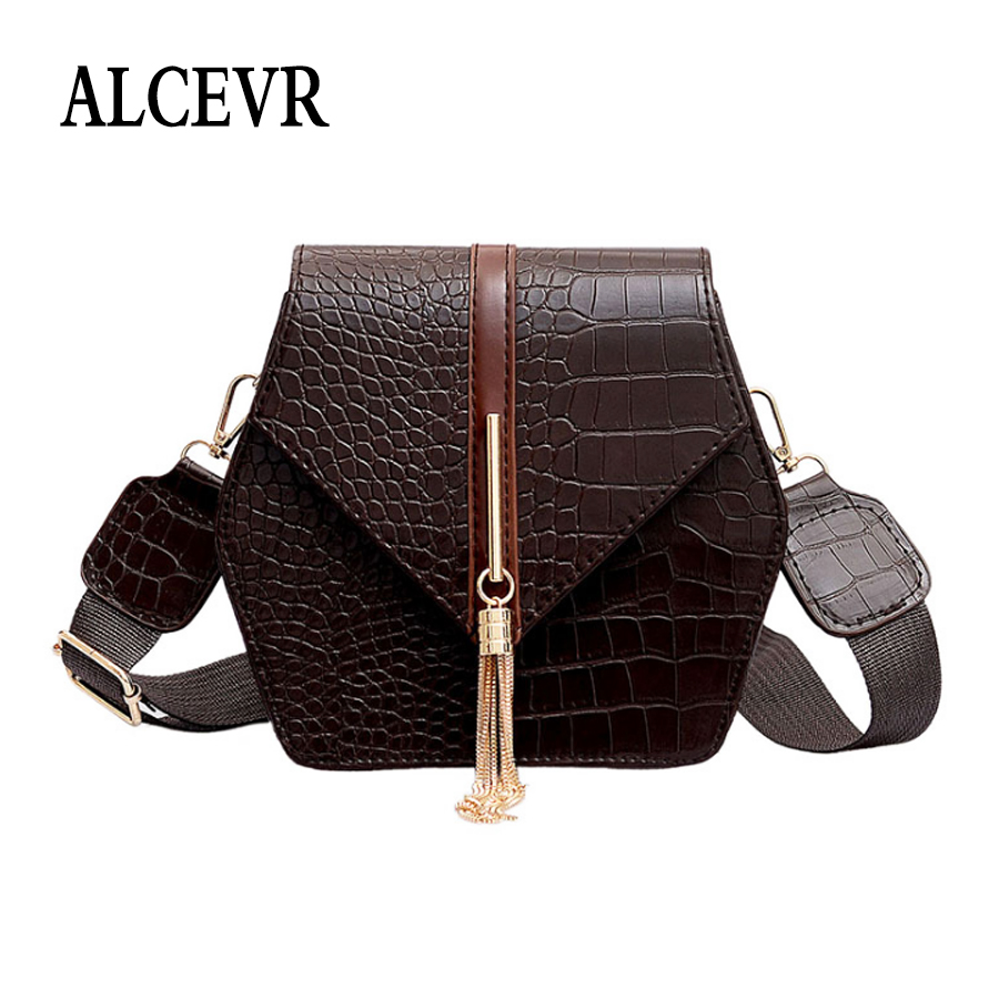 ALCEVR Solid Color Alligator PU Leather Shoulder Bags For Women All-Match Flap Ladies Wide Strap Crossbody Bags All-Match