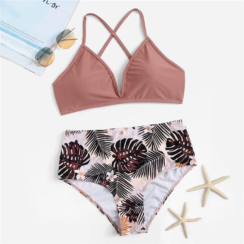 Criss Cross Top With Tropical Bottoms Bikinis Set 5