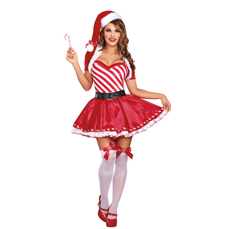 High-quality Little Red Riding Hood Christmas striped sexy Christmas party stage costumes women's nightclub bar costumes
