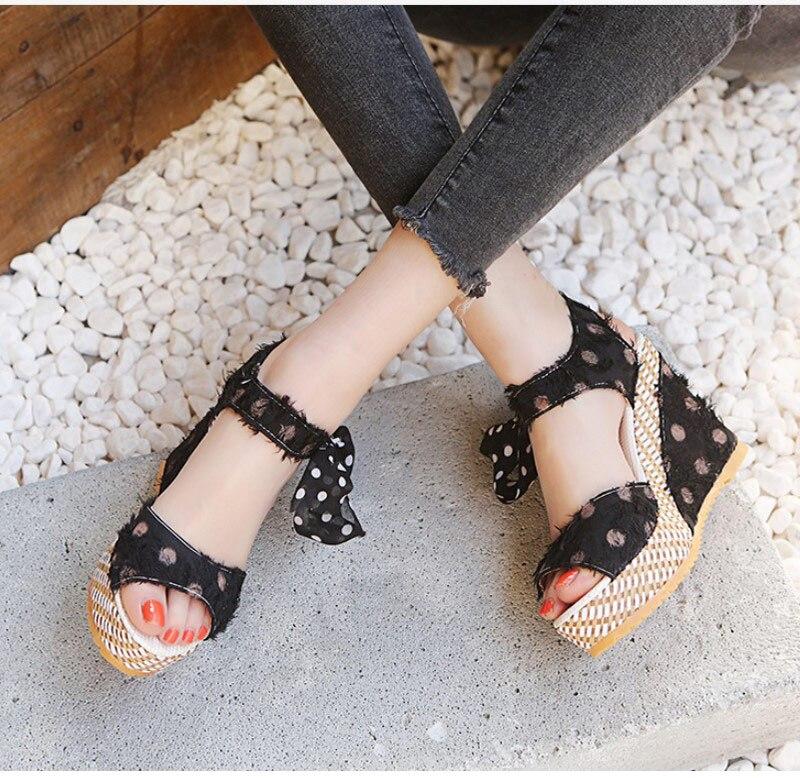 HTB1Kn.oXG5s3KVjSZFNq6AD3FXaF Women Sandals Dot Bowknot Design Platform Wedge Female Casual High Increas Shoes Ladies Fashion Ankle Strap Open Toe Sandals