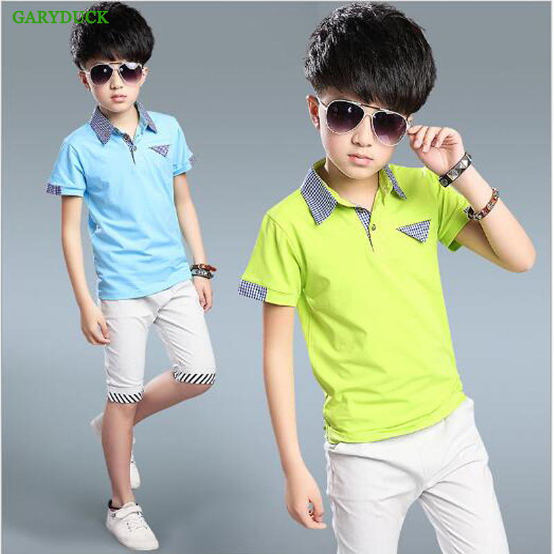 GARYDUCK 2017 Summer Boys Short-sleeved casual suit Cotton T-shirt + Boy Shorts Children's clothes 5-15 Years Teenager Boys Sets цена 2016