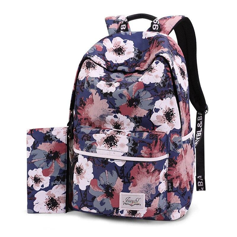 Women Backpacks Floral Print Bookbags Backpack School Bag For Girls Rucksack Female Travel Backpack Casual Laptop Bagpack coofit brand designer elegant women s backpack chic solid pu leather bagpack for girls teenager casual female backpacks rucksack