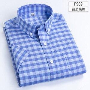 Image 5 - プラスサイズ 5XL 6XL 7XL 8XL 無地フル綿薄型半袖メンズシャツカジュアルビジネスフォーマルな白青シャツのための脂肪