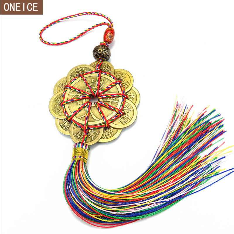 Red Chinese knot Feng Shui ancient pendant auspicious wish manual copper money prosperity protection luck home car decoration