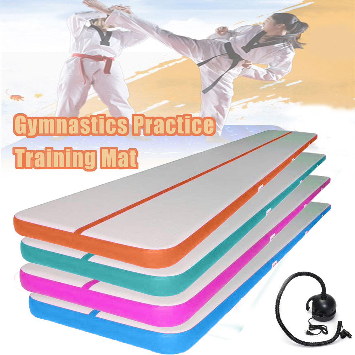 400x100x10 cm Piste Gonflable Gymnastique Tapis de Pratique Tumbling Formation Pad + 220 v Pompe À Air