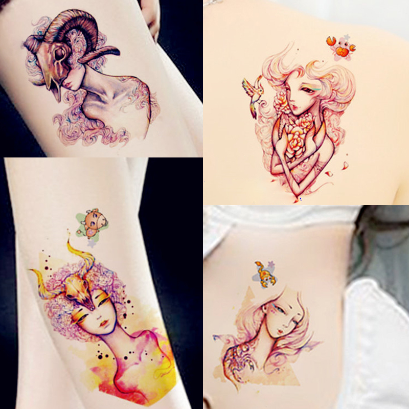 Us 074 1 Pc Losowo 12 Tatuaż Dwanaście Konstelacji Scorpio Strzelec Obraz Wzory Dla Kobiet Mężczyźni Tymczasowy Tatuaż Ozdoba Na Ciało Naklejki W