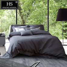 HS Luxurious Dark Gray Paisley Thickened 4pcs Jacquard Bedding Sets Pure Color Bed Linens King Size Duvet Cover Sheet Set