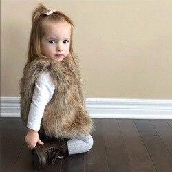MYUDI-2017 Novas Crianças Inverno Quente Vest Menina Faux Fur Colete Crianças Colete De Pele Falso Espessamento Roupas Da Moda Crianças