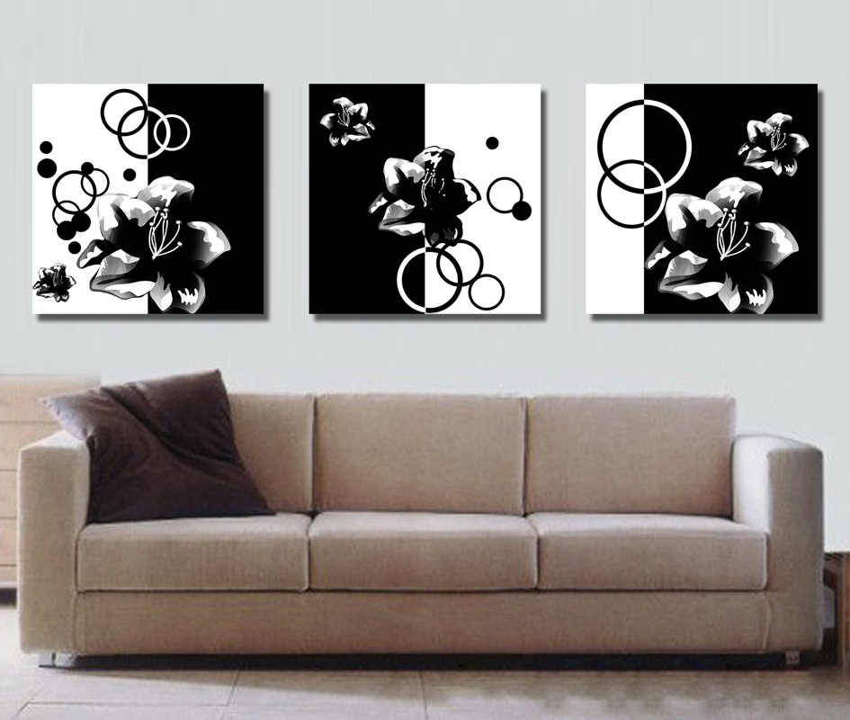Free Shipping 3 Pieces Decorative Black And White Abstract Flowers Art Print Painting On Canvas Paintings Prints Paintingart Aliexpress