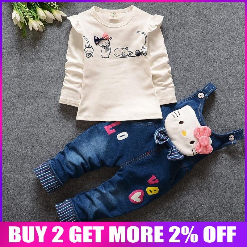 d86b662d7 BibiCola 2018 autumn childern girls clothes suit baby pink denim kids kitty  cartoon clothing set winter