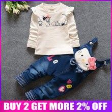 82662d77b97ea BibiCola 2018 automne childern vêtements de filles costume bébé rose denim  enfants kitty de bande dessinée