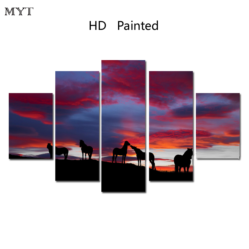 Horse in the sunset on Canvas Art 5 piece Cheap painting Poster HD Prints Home Decoration Wall Pictures for sitting Room Bedroom