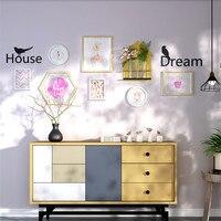 7pcs Picture Frames+Letters+Flower Arrangement Shelf Home Office Wall Decoration Photo Frame Set Collage Wood Picture Frame Set