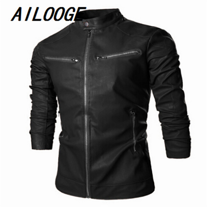 Mens Fashion Brief Paragraph Contracted Leather Motorcycle Jacket Men Leisure Brand High-Grade Mens Leather Jackets And Coats