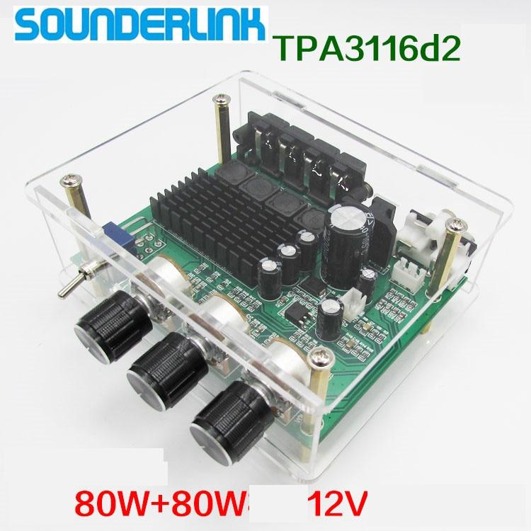 Sounderlink TPA3116D2 2*80 Вт стерео аудио усилитель доска TPA3116 цифровой звуковой преусилитель тон высокой мощности DC12-24V переменного тока