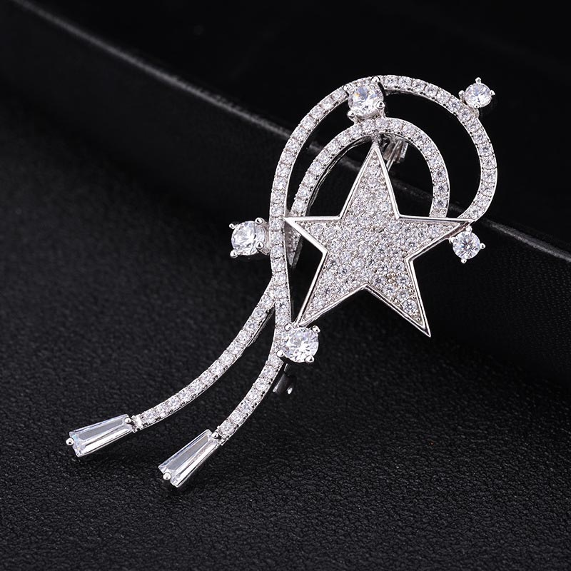 Red Trees Brand Star Brooches Pins For Women Sweater Accessorry With Luxury AAA Cubic Zirconia Stone In Box