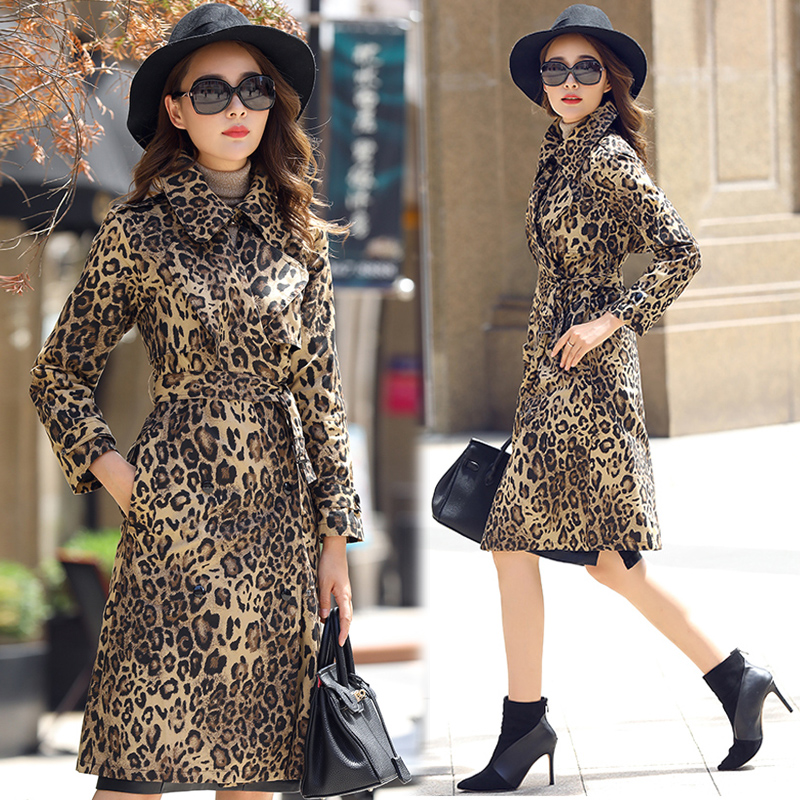 Womens Lapel Collar Slim Belt Trench Leopard Printing Coats Outwear Fashion Luxury