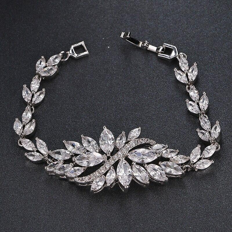 Emmaya Rose/White Gold Color AAA Cubic Zircon Bracelets Bangles Luxury Wedding
