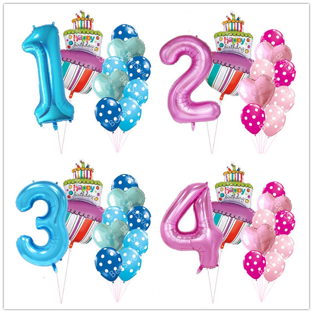 40 Inch Pink Blue Number 1 2 3 4 5 Year Old Birthday Cake Balloons Baby Boy Girl 1st Party Decor Supplies Dot Latex Helium Balls